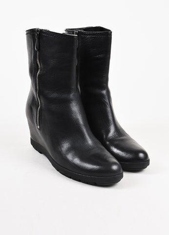 Prada Sport Black Leather Zip Up Covered Wedge Ankle Boots Frontview