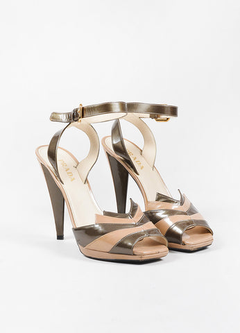 Tan and Grey Prada Patent Leather Peep Toe Strappy High Heel Sandals Frontview