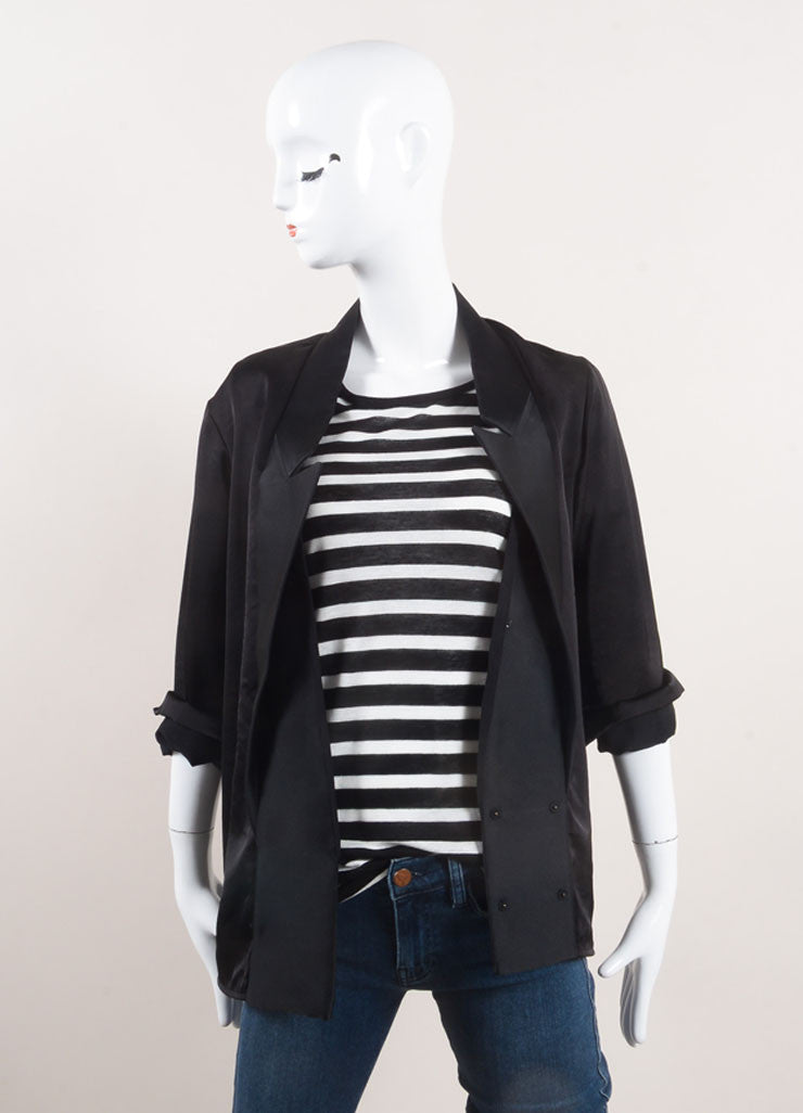 Stella McCartney Black Tuxedo Style Shirt Jacket Frontview