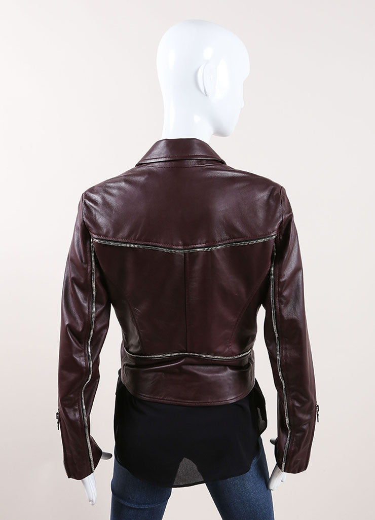 "The Perfext Wine Red Leather ""Jaime"" Moto Zip Trim Jacket Backview"