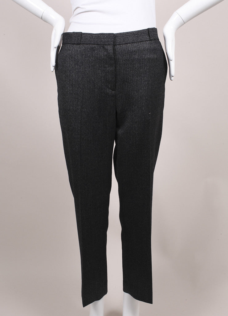 "The Row New With Tags Charcoal Grey Herringbone Wool ""Inoma"" Ankle Trousers Frontview"