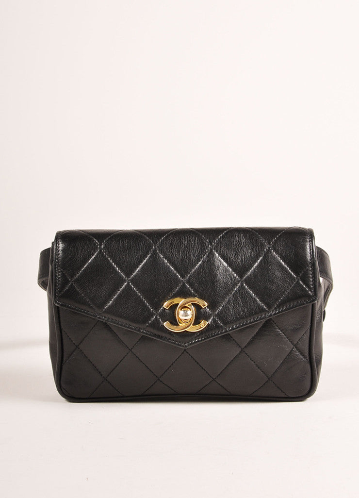 "Chanel Black and Gold Toned ""CC"" Turnlock Quilted Leather Belt Bag Frontview"