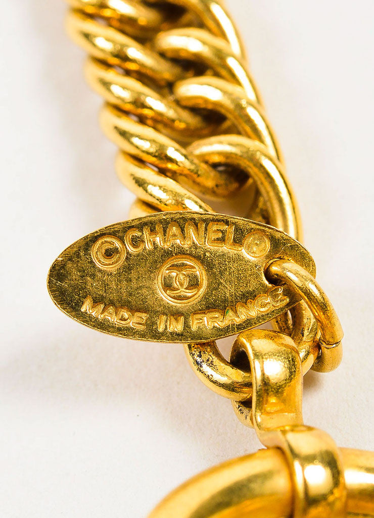 Gold Toned Chanel Magnifying Glass Pendant Necklace Brand