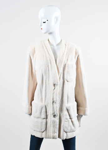 Valentino Cream Sheared Fur Jacket Frontview