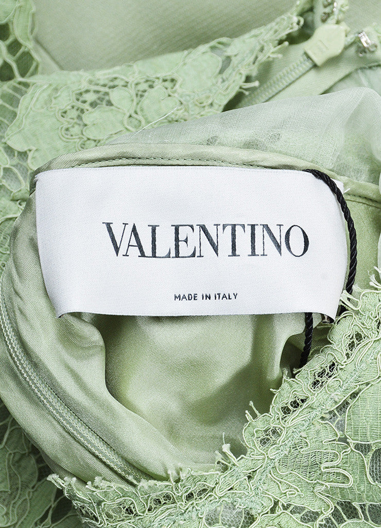 Valentino Mint Green Lace Mid Sleeve A-Line Dress Brand