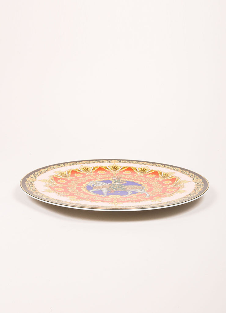 "Versace Rosenthal Coral and Yellow ""Le Roi Balthazar 1996"" 12 inch Service Plate Sideview"