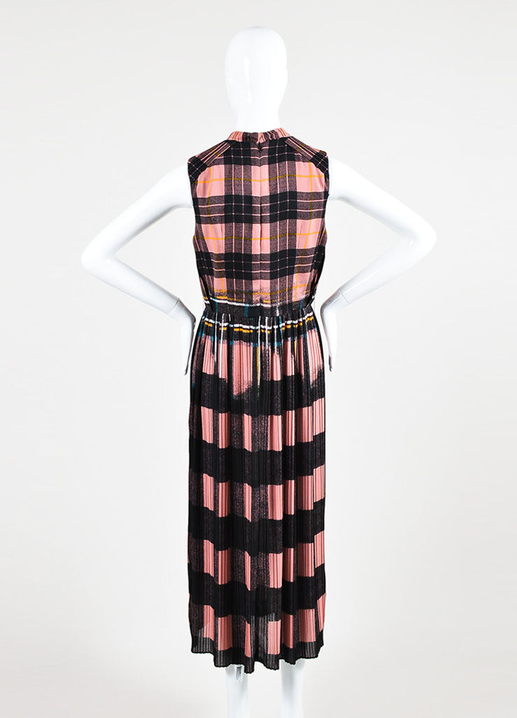 Victoria Victoria Beckham Pink and Black Plaid Pleated Dress Backview
