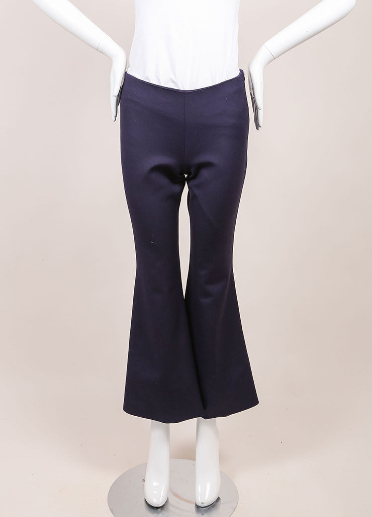 Wes Gordon New With Tags Navy Cropped Flare Pants Frontview