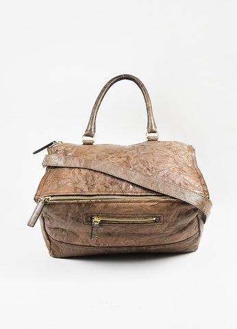 "Givenchy Taupe Distressed Sheepskin Crossbody ""Pepe Pandora Messenger"" Bag Frontview"