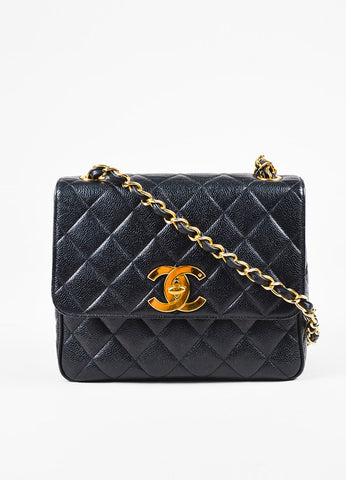 Chanel Black Caviar Leather Quilted Gold Toned 'CC' Chain Shoulder Bag Frontview