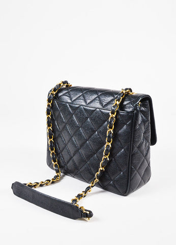 Chanel Black Caviar Leather Quilted Gold Toned 'CC' Chain Shoulder Bag Sideview