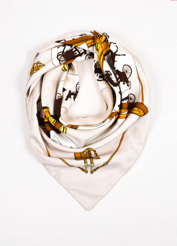 Hermes Brown and Golden Yellow Silk Horse Carriage and Bridle Print Scarf Frontview