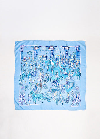"Hermes ""Soiree de Gala"" Blue Multicolor Silk Scarf Frontview 2"