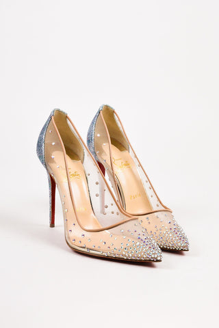 "Christian Louboutin New Beige Metallic Silver Mesh Crystal ""Follies"" Pumps SZ 38"