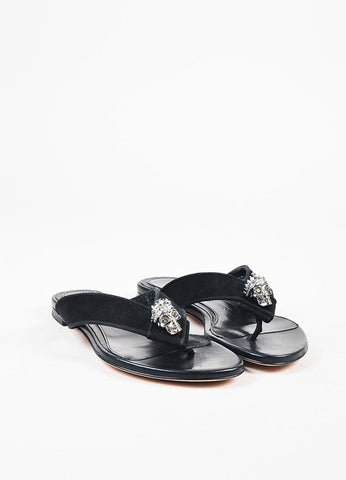 Alexander McQueen Black Suede Silver Toned Skull Thong Sandals frontview
