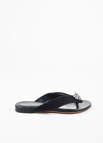 Alexander McQueen Black Suede Silver Toned Skull Thong Sandals Sideview