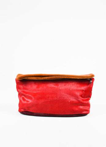 Derek Lam Lipstick Coral Red Brandy Calf Hair Clutch Bag Frontview