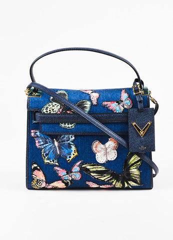 "Valentino Garavani Denim Butterfly Applique ""My Rockstud"" Satchel Bag Frontview"