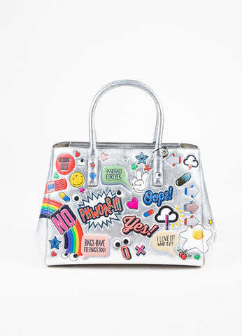 "Anya Hindmarch Silver Leather ""Ebury Small II"" Tote Bag Frontview"