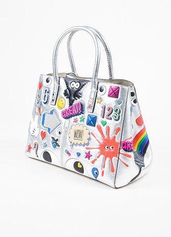 "Anya Hindmarch Silver Leather ""Ebury Small II"" Tote Bag Sideview"