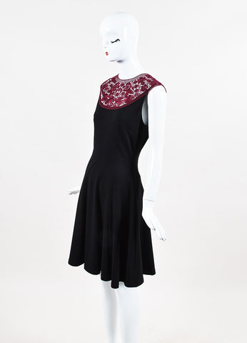 "Erdem Black and Maroon Lace Ponte Jersey Sleeveless ""Lorna"" Dress Sideview"