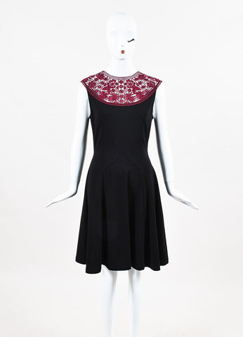 "Erdem Black and Maroon Lace Ponte Jersey Sleeveless ""Lorna"" Dress Frontview"