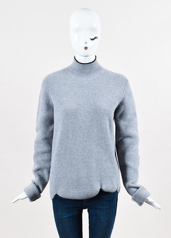 Marni Grey and Black Virgin Wool and Angora Turtleneck Scalloped Sweater Frontview