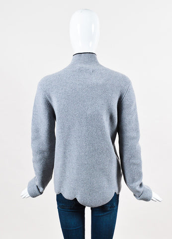 Marni Grey and Black Virgin Wool and Angora Turtleneck Scalloped Sweater Backview