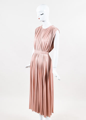 Valentino Pink Silk Knit Pleated Elastic Waist Sleeveless Midi Dress Sideview