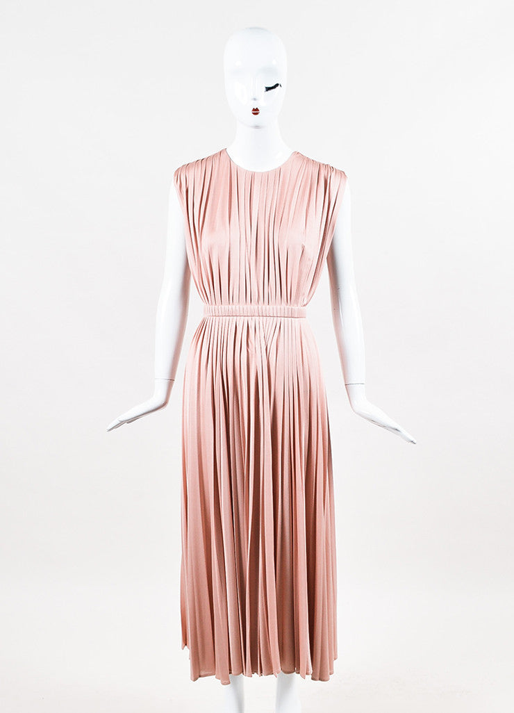 Valentino Pink Silk Knit Pleated Elastic Waist Sleeveless Midi Dress Frontview