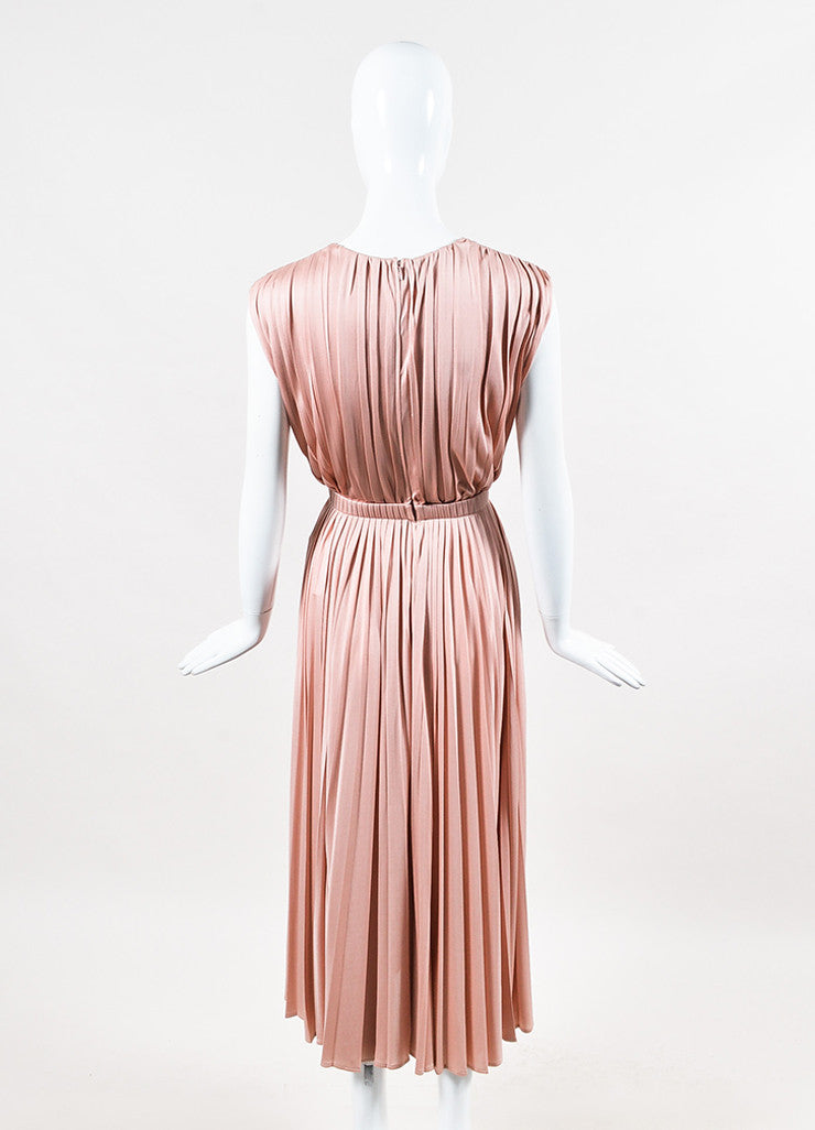 Valentino Pink Silk Knit Pleated Elastic Waist Sleeveless Midi Dress Backview