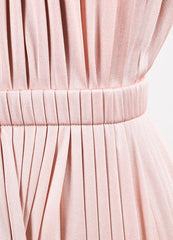 Valentino Pink Silk Knit Pleated Elastic Waist Sleeveless Midi Dress Detail