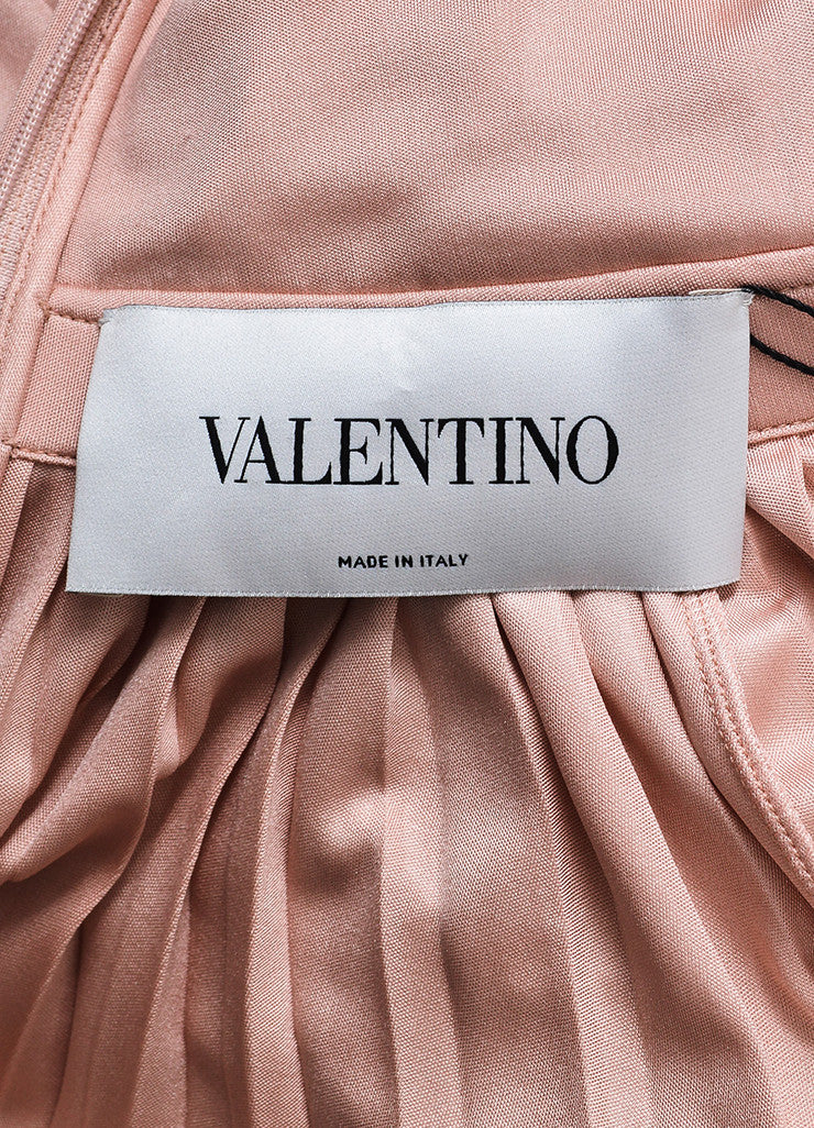 Valentino Pink Silk Knit Pleated Elastic Waist Sleeveless Midi Dress Brand