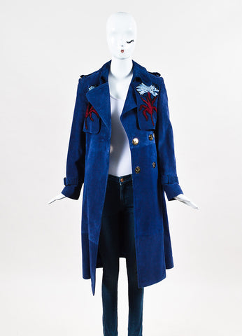 "Erdem Blue Suede Embroidered ""Meira"" Double Breasted Trench Coat Frontview"
