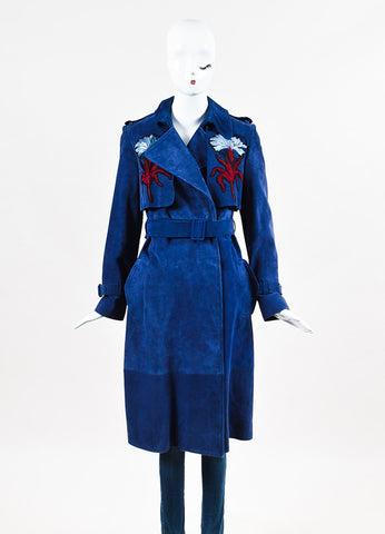 "Erdem Blue Suede Embroidered ""Meira"" Double Breasted Trench Coat Frontview 2"