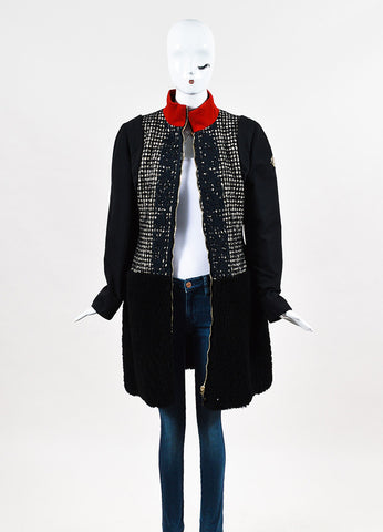 "Moncler Gamme Rouge ""Emily"" Black,  Cream, and Red Wool Embroidered Coat Frontview"