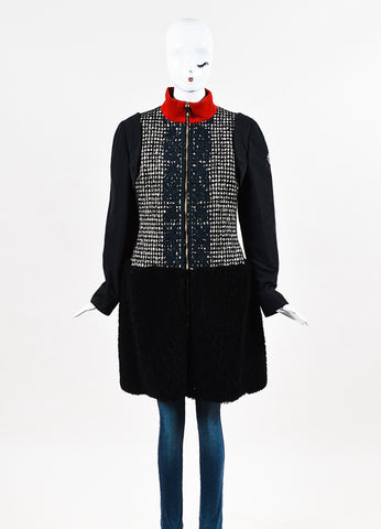 "Moncler Gamme Rouge ""Emily"" Black,  Cream, and Red Wool Embroidered Coat Frontview 2"