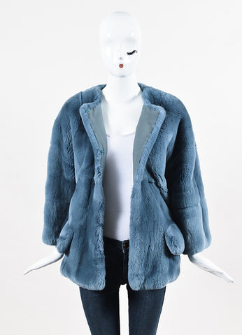 "Marni ""Sapphire Blue"" Rex Rabbit Fur Coat Frontview"