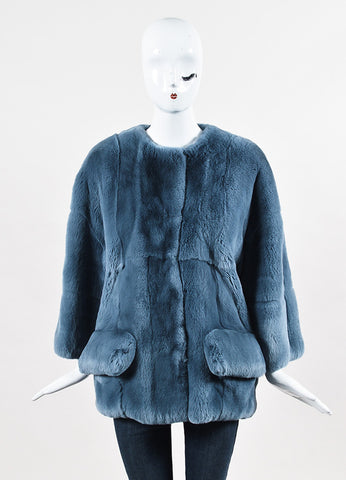 "Marni ""Sapphire Blue"" Rex Rabbit Fur Coat Frontview 2"