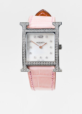 "Hermes ""Heure H MM"" Pink and Silver Toned Alligator Leather and Diamond Watch Frontview"