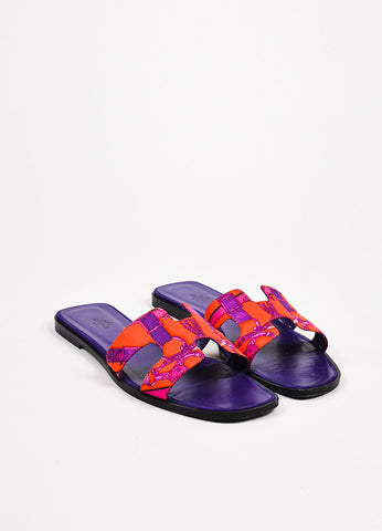 "Hermes Purple and Red Printed Leather Open Toe ""Oran"" Sandals Frontview"