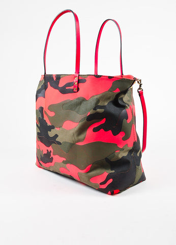 Valentino Neon Red and Army Green Canvas Leather Trim Camouflage Reversible Tote Bag Sideview