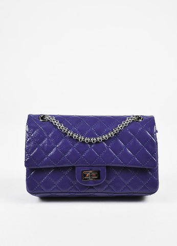 "Chanel ""2.55 Reissue 225"" Purple Patent Caviar Silver Chain Double Flap Bag Frontview"