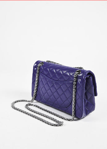 "Chanel ""2.55 Reissue 225"" Purple Patent Caviar Silver Chain Double Flap Bag Sideview"