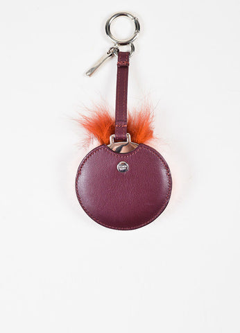 Fendi Red and Pink Leather Fox and Mink Fur Crystal Mirror Bag Charm Backview