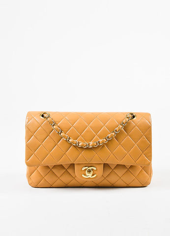 "Chanel Tan Lambskin Quilted ""Classic Medium Double Flap"" Bag Frontview"