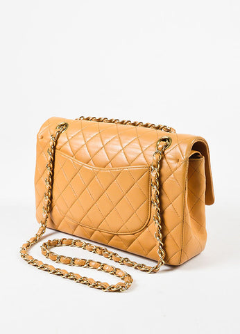 "Chanel Tan Lambskin Quilted ""Classic Medium Double Flap"" Bag Sideview"