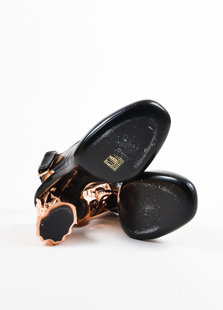 "Black Acne Studios Leather Copper Metallic ""Odelia"" Slingback Pumps Sole"