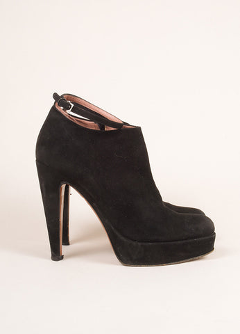 Alaia Black Suede Leather Ankle Strap High Heel Booties Side
