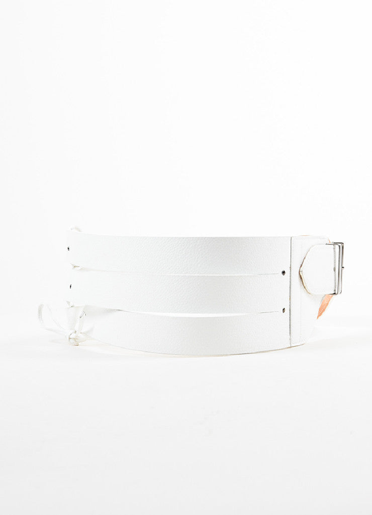 Alaia White Grain Leather Triple Strap Tie Detail Waist Belt Backview